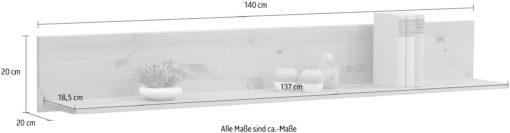 Półka ścienna Agave, wykonana z litej sosny, biała, 140 cm