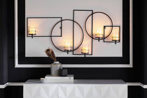 Duży świecznik na ścianę, czarny z metalu