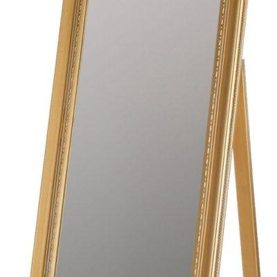 Lustro stojące ze złotą, zdobioną ramą