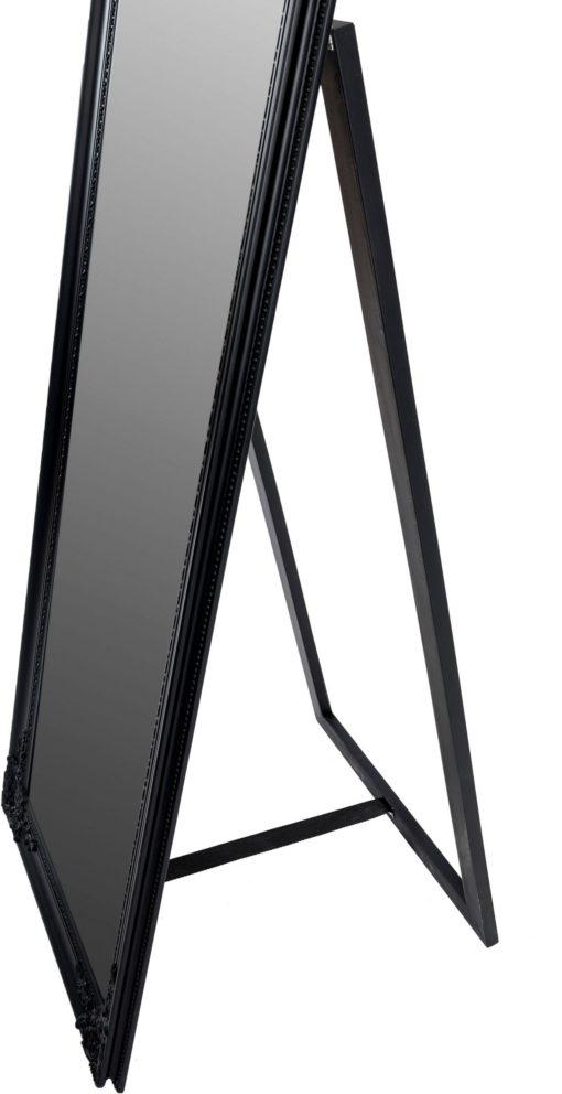 Lustro stojące z pięknie zdobioną, czarną ramą