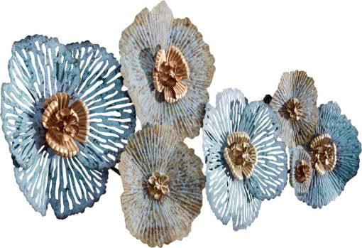 Dekoracja ścienna, metalowe kwiaty, antyczne wykończenie