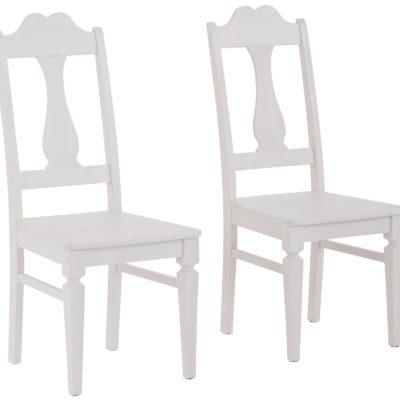 """Sosnowe krzesła """"Hendrik"""" w romantycznym stylu białe– 2 sztuki"""