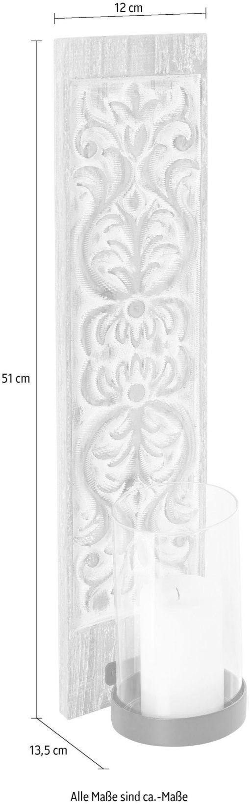 Świecznik ścienny z rzeźbioną powierzchnią - zestaw 2 sztuki