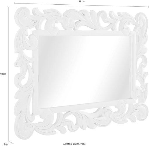 Lustro dekoracyjne w pięknej białej ramie 59x89 cm