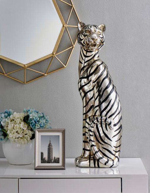 Figura dekoracyjna siedzący tygrys z poliresiny