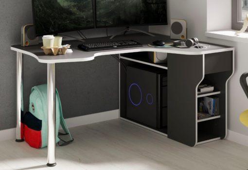 Futurystyczne biurko gamingowe, grafitowo-czarne