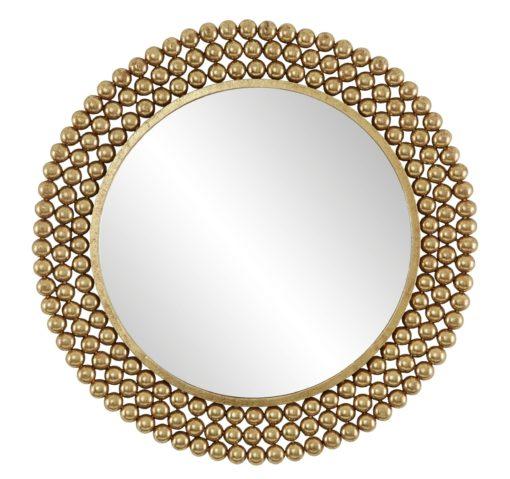 Złote lustro z ozdobną kulistą ramą