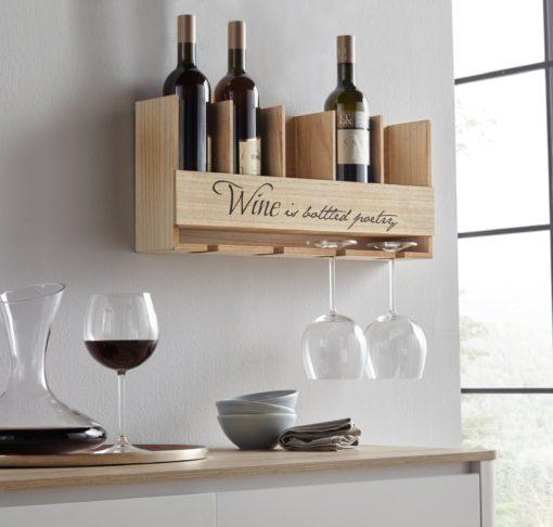 Półka na wino z uchwytem na butelki i kieliszki