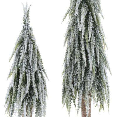 Zestaw dwóch choinek na pniu, ośnieżonych 53 i 70 cm