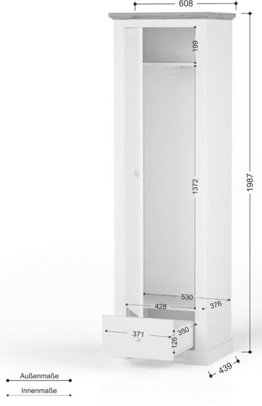 Jednodrzwiowa szafa Teverton z szufladą i półką