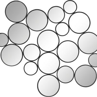 Dekoracja ścienna z okrągłymi elementami lustrzanymi