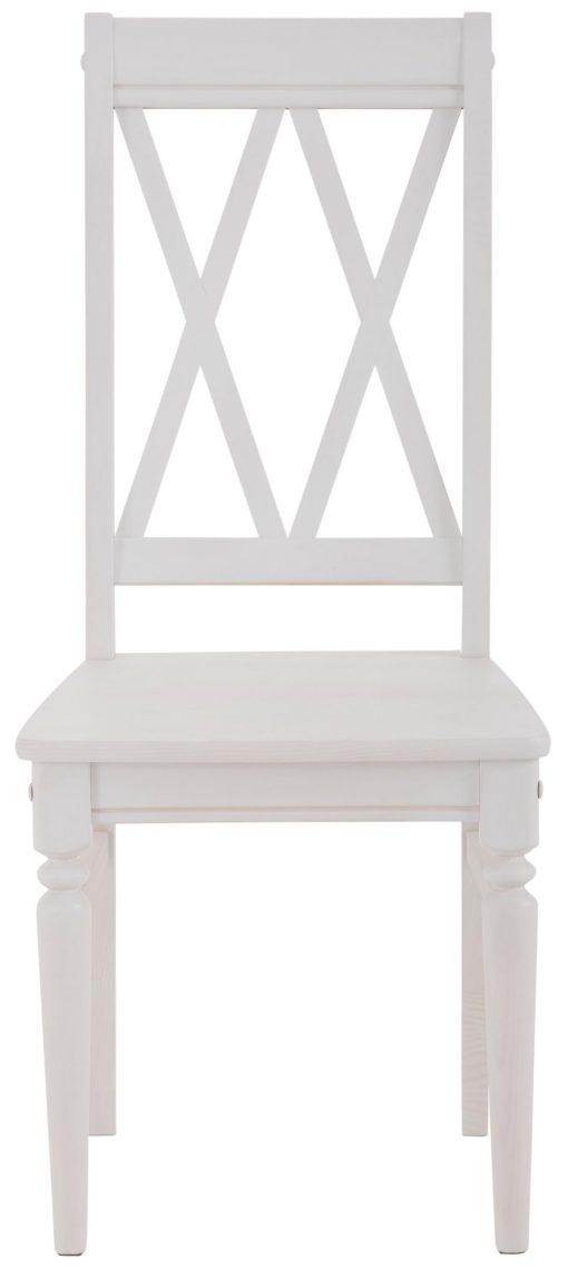 Sosnowe, białe krzesła o ciekawym kształcie - 2 sztuki