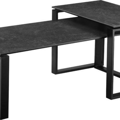 Zestaw dwóch czarnych stolików do salonu
