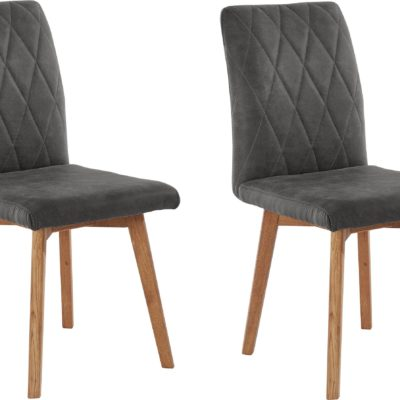 Antracytowe krzesła na dębowych nogach - 2 sztuki