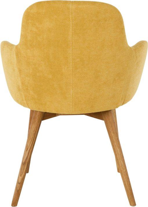 Tapicerowane krzesła, nogi dębowe, kolor curry - 2 sztuki