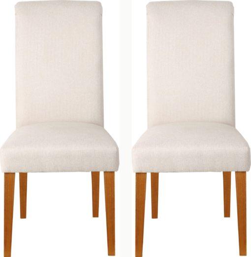 Krzesła z kołatką z tyłu, kremowe - 2 sztuki