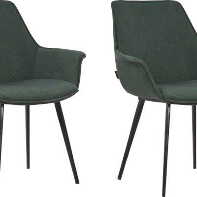 Zielone krzesła tapicerowane na metalowych nogach - 2 sztuki