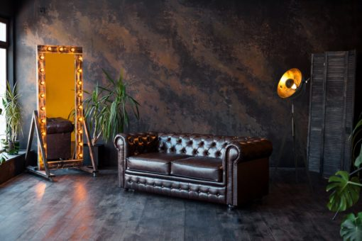 Modna lampa stojąca w stylu retro, czarno-złota