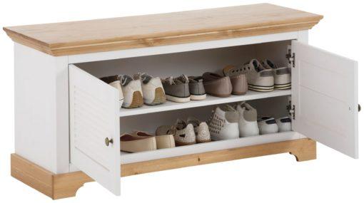 Sosnowa ławka na buty w stylu prowansalskim