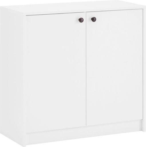 Biała komoda z półkami o powściągliwym wzornictwie