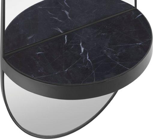 Czarne lustro z marmurową półką