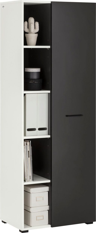 Szafa na dokumenty z drzwiami i półkami, biało-czarna