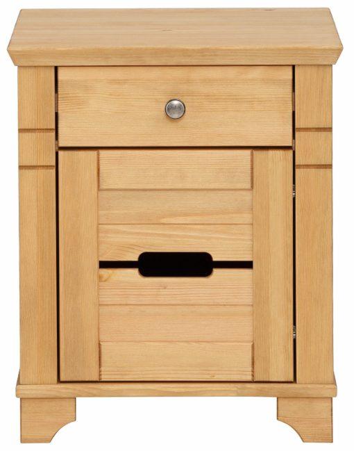 Sosnowa szafka nocna z ciekawym frontem drzwi