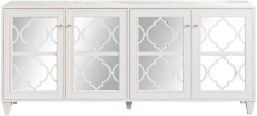 Kredens z lustrzanym frontem w orientalnym stylu, biały