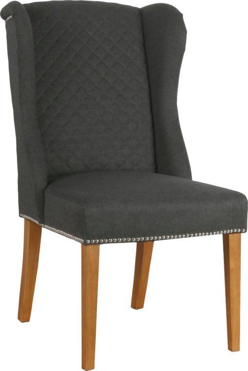 Ciemnoszary fotel z pikowanym oparciem i kołatką