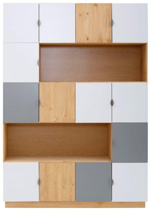 Regal z czternastoma drzwiami, 141 cm, ciekawa kolorystyka
