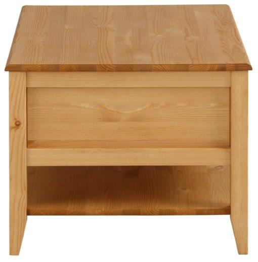 Stolik kawowy z sosny, z szufladami i półką, olejowany