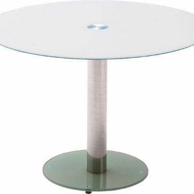 Okragły stół z metalową nogą w modnej kolorystyce