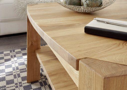 Bukowy stolik kawowy z półką, rustykalny