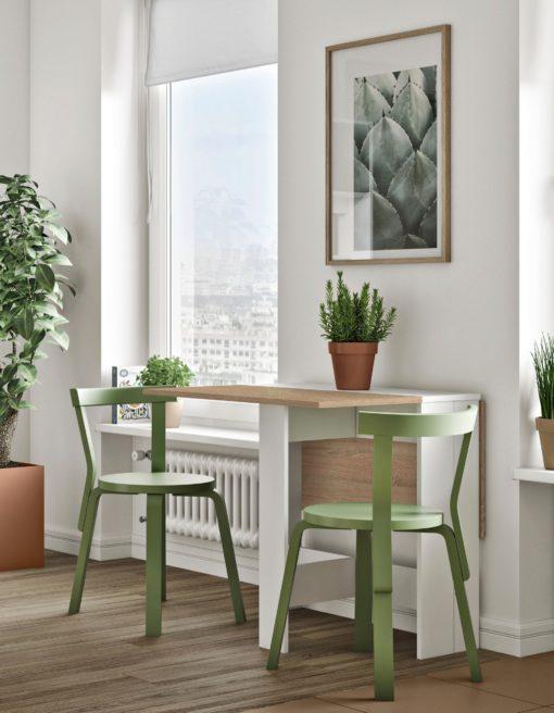 Stół składany biało-dębowy, styl skandynawski 103x76 cm