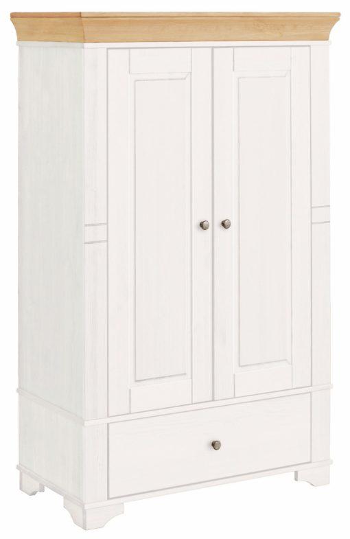Masywna szafa z sosny, z półkami i szufladą, biała