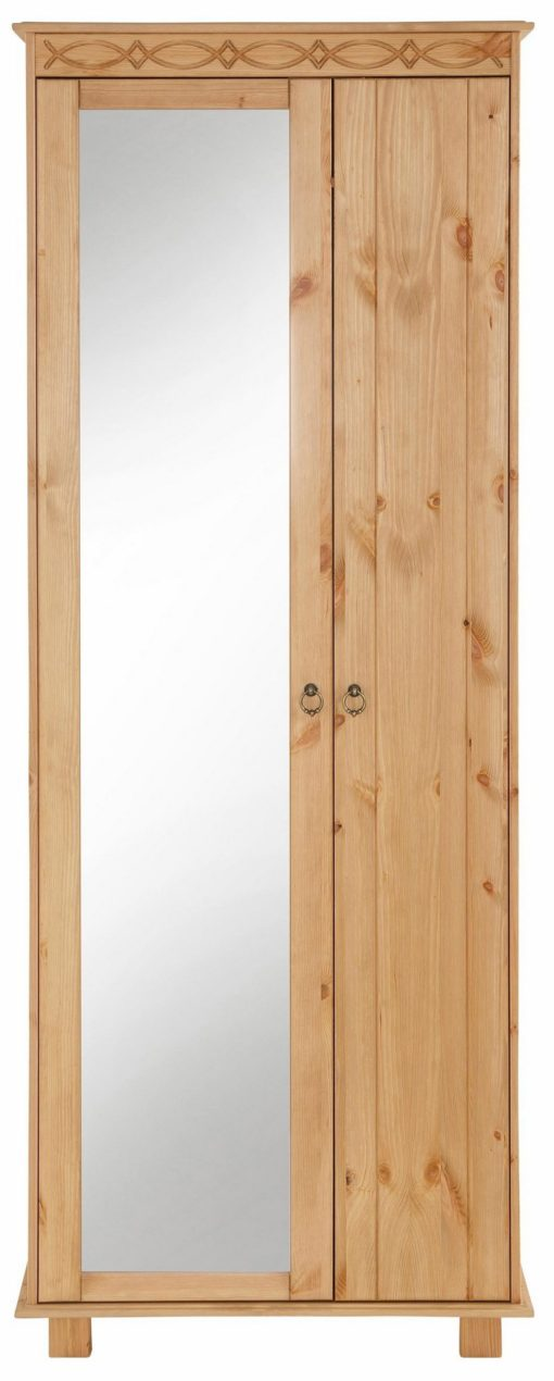 Sosnowa szafa z lustrem, dwudrzwiowa rustykalna