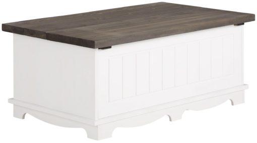 Sosnowy stolik kawowy ze schowkiem, biało-szary