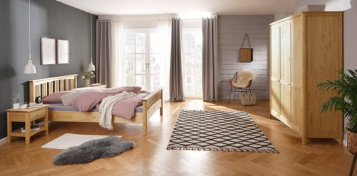 Sosnowe łóżko 141x203 cm w stylu rustykalnym