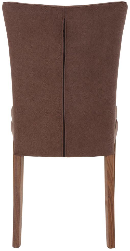 Ponadczasowe brązowe krzesła z pikowaniem, nogi orzech - 2 sztuki