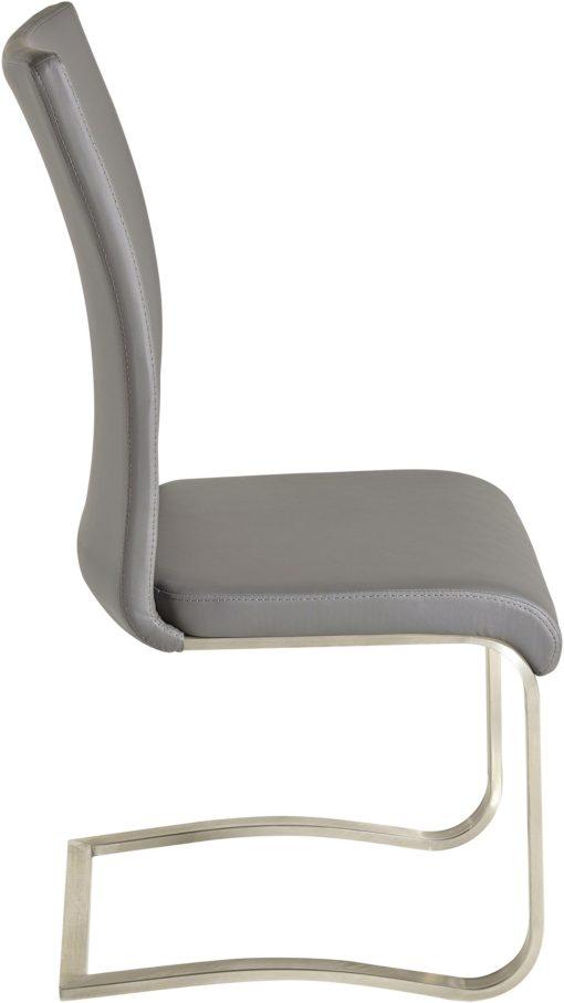 Szare krzesła na płozach, sztuczna skóra - 4 sztuki