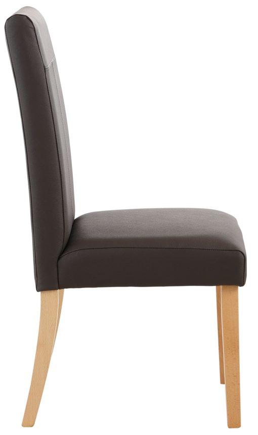 Krzesła tapicerowane sztuczną skórą, drewniana rama - brązowe