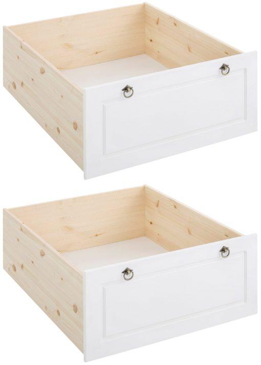 Dwie eleganckie szuflady pod łóżko z sosny, białe fronty