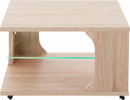 Kwadratowy stolik ze szklaną półką, dąb sonoma