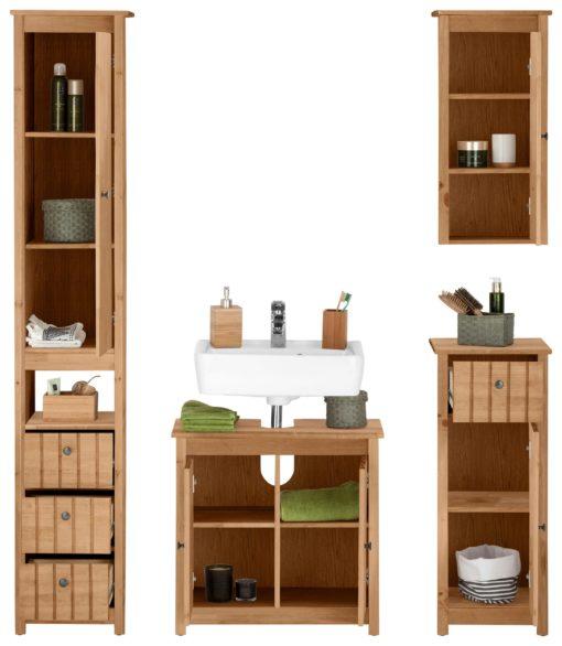 Komplet sosnowych szafek łazienkowych, styl prowansalski