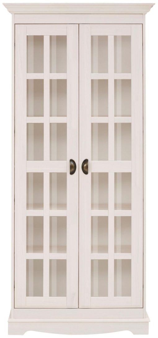Sosnowa witryna w stylu rustykalnym, biała, dwudrzwiowa