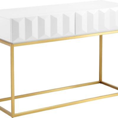 Geometryczna konsola ze złotą podstawą w stylu glamour
