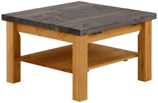 Stolik kawowy drewniany, z szarym szczotkowanym blatem