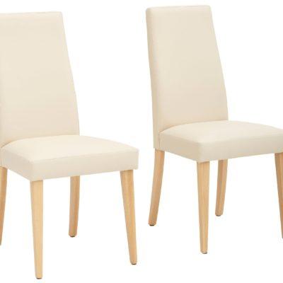 Proste krzesła beżowe, sztuczna skóra - 2 sztuki
