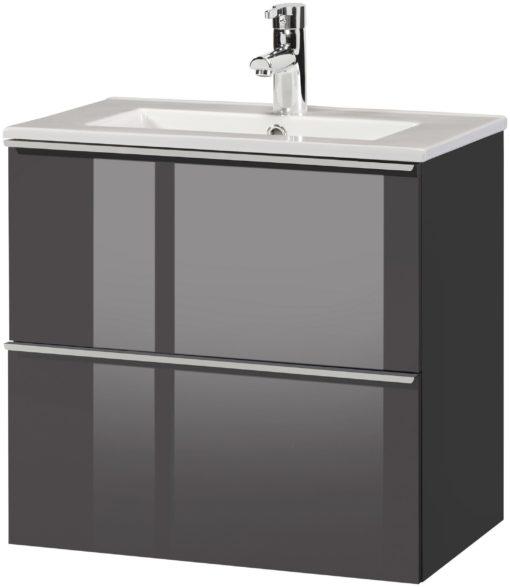 Szafka pod umywalkę z ceramiczną umywalką, szara