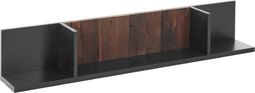 Półka antracytowa częściowo z drewna z recyklingu, 140 cm